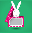 rabbit sits in box for gift with sticker vector image