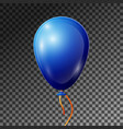 realistic blue balloon with ribbon isolated vector image vector image