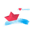 red paper boat summer design vector image vector image