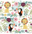 seamless pattern with lion and exotic birds vector image