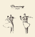 set dancing couple draw sketch vector image