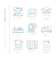 set of freight icons and concepts in mono thin vector image vector image