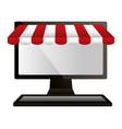 shopping online computer market commerce vector image