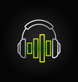 silver headphones with green equalizer line vector image vector image