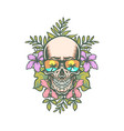 skull and exotic tropical flowers vector image vector image