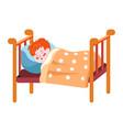 sleeping redhead child boy asleep in bed vector image vector image