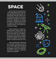 space dark banner with neon cosmos themed sketches vector image