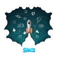 space rocket science and shuttleplanets in orbit vector image vector image