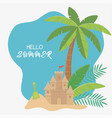 summer travel and vacation sand castle shovel palm vector image