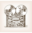 Tape recorder sketch style vector image
