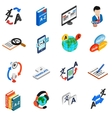 Translator icons set isometric 3d style vector image vector image