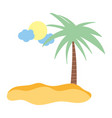 tropical palm tree sun clouds summer isolated vector image