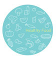 Useful food linear icons set in circle frame vector image vector image