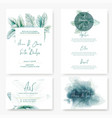 wedding kit cardswith watercolor lamb ear leaves vector image