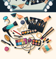 Workspace for makeup - flat design vector image vector image