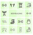 14 bodybuilding icons vector image vector image