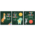 back to school sale banner with cute animals vector image vector image