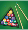 billiard cue and pool balls in triangle on green vector image vector image