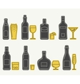 Bottles and glasses line icons vector image