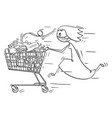 cartoon woman wearing face mask running and vector image vector image