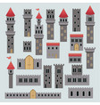 castle structure parts in colorful silhouette vector image