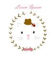 cat in a hat with flowers vector image vector image