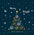 christmas gold snowflake tree greeting card vector image vector image