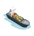 container ship isometric 3d element vector image