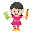 cute girl holding carrot and fresh green mustards vector image vector image