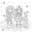 cute girls in winter hat vector image