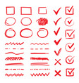 doodle check marks and underlines hand drawn red vector image