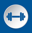 dumbbell - simple blue icon on white button vector image