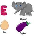 E alphabet vector image vector image