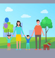family having fun in city park vector image