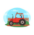 farmer driving tractor on field farming season vector image