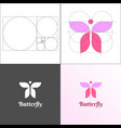 feminine butterfly logo in pink and lavender vector image vector image