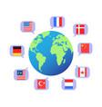 flag speech bubbles around world vector image vector image