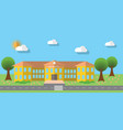 Flat design of school building in flat design vector image vector image