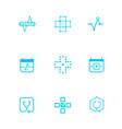 flat line medicine icons monochrome blue emblem vector image