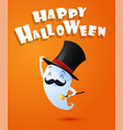 flying cute ghost spirit with hat happy halloween vector image