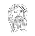 hand drawn portrait of bearded man vintage style vector image vector image