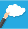 hand holding cloud on a blue background vector image vector image