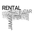Jamaica car rental text background word cloud vector image