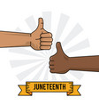 juneteenth celebration hand black and white thumb vector image vector image