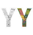 letter y zentangle for coloring decorative vector image