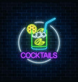 neon cocktail glass sign in circle frame on dark vector image vector image