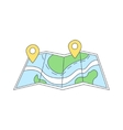Paper Map With Destination Marked vector image vector image