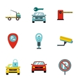 Parking area icons set flat style vector image vector image