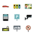 Parking transport icons set flat style vector image vector image