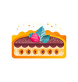 piece of layered delicious cake with nuts vector image vector image